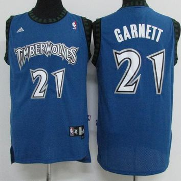 Classic NBA Basketball Jerseys Minnesota Timberwolves #21 Kevin Garnett Blue