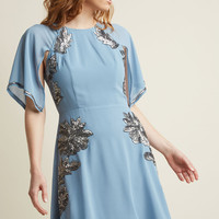 Retro Sequin Dress with Cape Sleeves