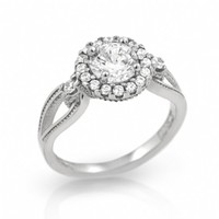 Lynne's Linked Design Cubic Zirconia Sterling Silver Engagement Ring