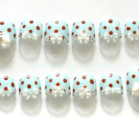 3D nails, Japanese nail art, fairy kei, sweet lolita, choco mint, polka dots