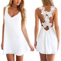 HP(TM)Women Seaside Vacation V Neck Backless Lace Crochet Summer Beach Dress