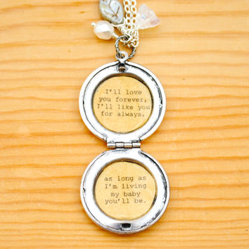 I'll love you forever - Daughter Locket - Antique Silver - Women's Lockets - Quote Lockets - Mom and Me