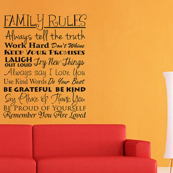 Family Rules Vinyl Wall Art - Family Vinyl Wall Decals - Room Decor Decorative Wall Decals