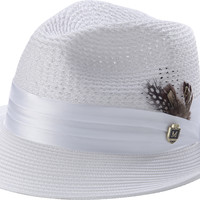 Men's Braided Solid Color Ferdora Hat H-34 By Montique