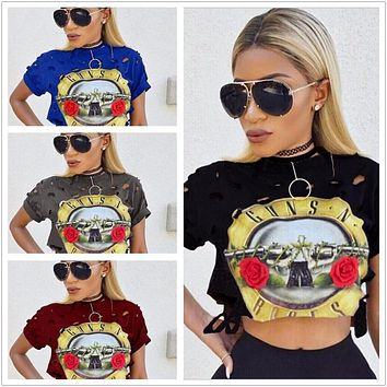 WOMEN'S CROPPED GUNS N ROSES SHIRT