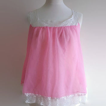 Pink vintage babydoll lingerie - 1960s candy pink mini nightgown - white lace trimmed short nightdress - retro pin up lingerie top