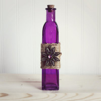 Glass Bottle / Home Decor / Bud Vase / Vase / Glass Cruet / Bottle Decor / Purple Decor / Gift Ideas / Glass Decor