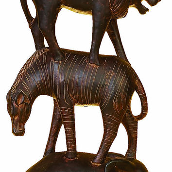 Polystone Animal Stack Hand Carved In Wood