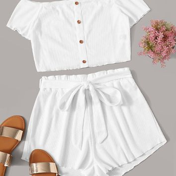 Button Detail Bardot Top and Paperbag Waist Shorts Set
