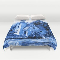 Light House: Blues Duvet Cover by Eileen Paulino