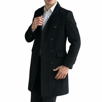 Tailor-Made New Men's Luxury Woolen Coats Fashion Slim Wool Overcoat England Style Autumn Winter Cashmere Peacoat casaco