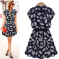 Leaf Print Pleated Skater Dress