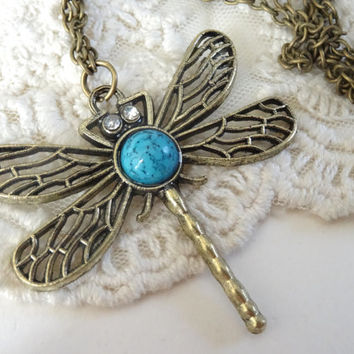 1- Larg Dragon Fly Necklace Long Bohemian Sweater Necklace BuyDiy Finished Jewelry Necklace