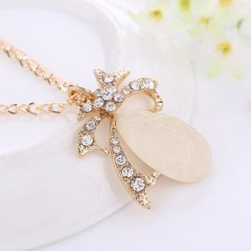 Korean Creative Strong Character Water Droplets Pendant Women's Fashion Luxury Rhinestone Accessory Chain Sweater [6049481089]
