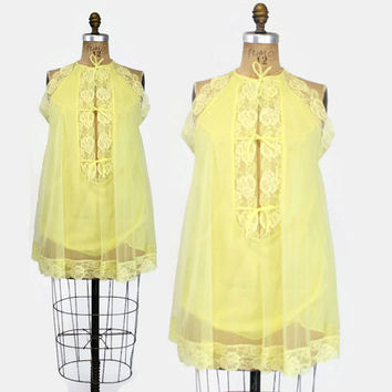 60s Sunny YELLOW Chiffon NIGHTIE / 1960s Double Layer Sheer Lace Trim NIGHTGOWN
