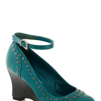There Will Be Studs Wedge in Turquoise | Mod Retro Vintage Heels | ModCloth.com