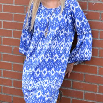 Blue Holiday Vacation Ethnic Style Summer Beach Dress