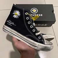 Converse high-top men's and women's graffiti distressed small daisy canvas shoes
