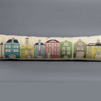Colorful dutch houses pillow, cotton pillow cover, cushion cover, dutch pillow cover