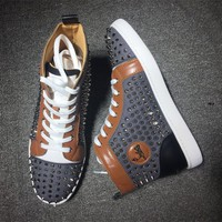 Cl Christian Louboutin Louis Spikes Mid Style #1813 Sneakers Fashion Shoes - Best Deal Online