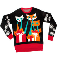 Stupid.com: Knit Ugly Holiday Sweater, Laser Cat-Zillas