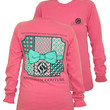 Southern Couture Preppy Pattern Quilt Bow Chevron Comfort Colors Crunchberry Girlie Long Sleeve Bright T Shirt