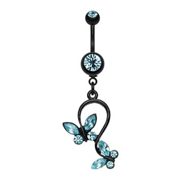 Blackline Butterfly Gem Loop Belly Button Ring