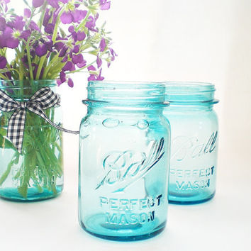 Antique Turquoise Blue Mason Jar,  Ball Canning Jars, Rustic Wedding Vases, Shabby Chic Wedding Decor, Pints