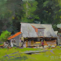 Green landscape oil painting - Hut in mountains - Original nature painting on canvas - Impressionist modern art