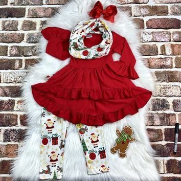 RTS Red Christmas Scarf Set D98