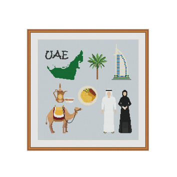 UAE, United Arab Emirates, Dubai, Camel, Palm tree, Arabic dress, Arabic, Cross stitch pattern, Cross stitch chart, Cross stitch PDF Xstitch