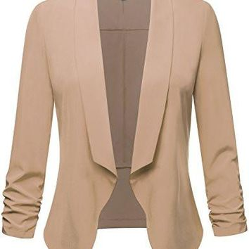 Womens Lightweight 3/4 Sleeve Open Blazer