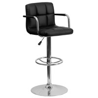 Flash Furniture Contemporary Black Quilted Vinyl Adjustable Height Barstool with Arms and Chrome Base [CH-102029-BK-GG]
