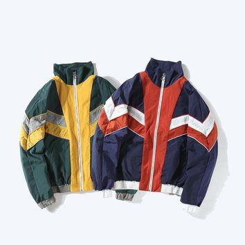 Trendy women hip pop jackets 90s red white blue patchwork Japanese coats loose zipper his and hers streetwears vintage chaqueta mujer AT_94_13