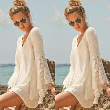VIP Women Vintage Hippie Boho Bell Sleeves Gypsy Festival Holiday Lace Mini Dress