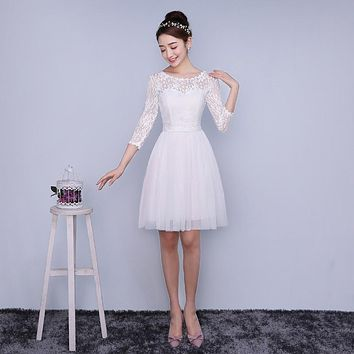 ZXC4-BS#Model show 2016 new spring bridesmaids dresses short Wedding Bridesmaid Dress  graduation Prom dress toast sisters White