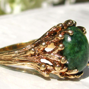 Esemco Jade Green Colored Ring Unique Antique Engagement Ring 10K Yellow Gold Branch Ring Size 8!
