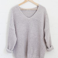 Polly Knit Sweater - Light Gray