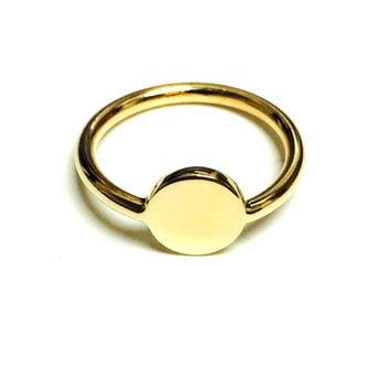 14k Yellow Gold Disc Personalized Ring