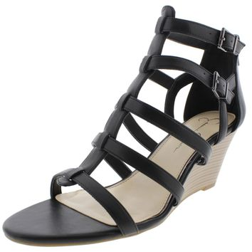 Jessica Simpson Womens Shalon Faux Lather Caged Wedge Sandals