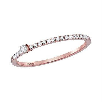 10k Rose Gold Women's Diamond Solitaire Stackable Ring
