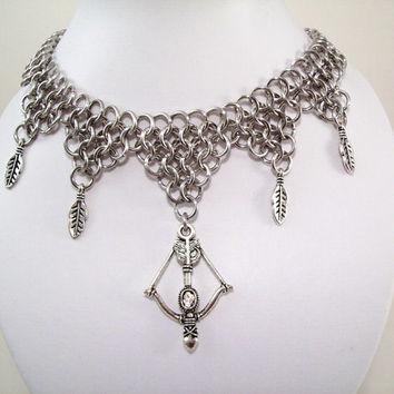 necklace, choker, bow and arrow, chainmaille, Sagittarius, zodiac, dungeon and dragon, elven, warrior, Artemis, Diana