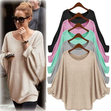 Fashion Batwing Sleeve Scoop Loose Candy Color Sweater