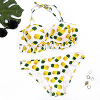 Push Up Pineapple Printed Bandage Beach Swimwear Bikinis Swimsuit