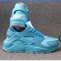"""NIKE""AIR Huarache Running Sport Casual Shoes Sneakers (blue white logo) H-A"