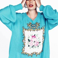 Wildfox Couture Teacup Pfeiffer Sweater in Chinese Blue