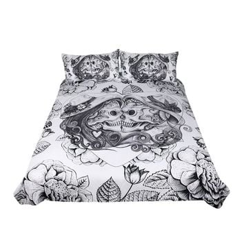 BeddingOutlet Skull Bedding Set King  Duvet Cover 3 Pieces Couples Vintage Bedclothes Floral Double Love Bed Set