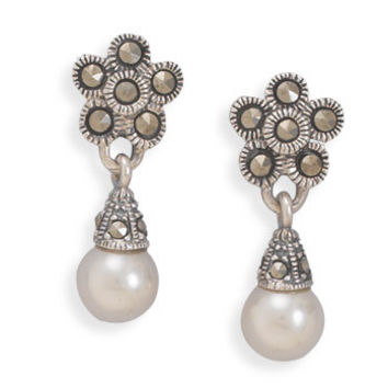 Marcasite Earrings with Imitation Pearl Drop