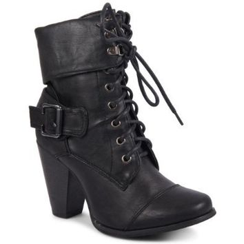 New Ladies Low High Heel Army Military Biker Ankle Long Boots