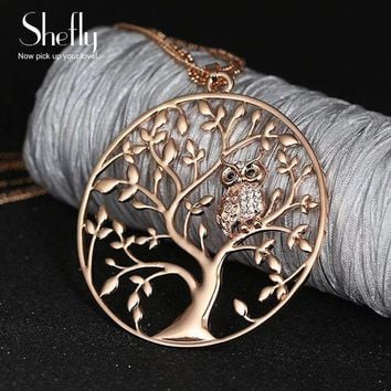 Womens Tree of  Life Jewelry Multilayer Chain Crystal Long Necklaces Pendants